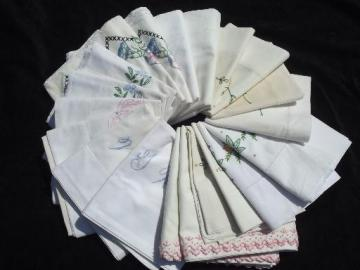 huge lot of vintage embroidered pillowcases w/crocheted lace, 10 pairs