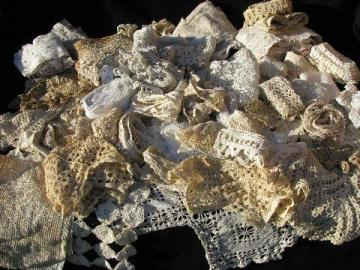 huge lot old antique vintage crochet lace sewing trims, edgings, insertions