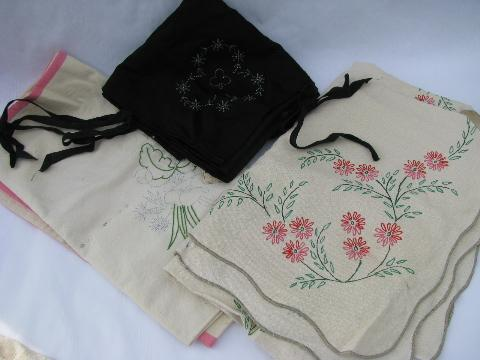 huge lot old linens, stamped to embroider, vintage pillowcases, tablecloths, towels