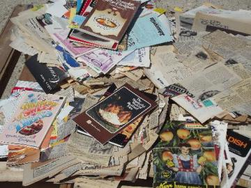 huge lot old newspaper clippings and labels, 60s 70s 80s vintage recipes