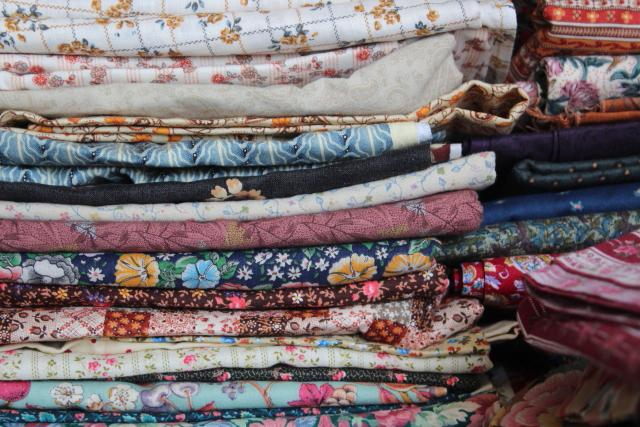 huge lot quilting sewing fabric, calico tiny print flowered prints 80s 90s vintage