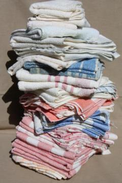 huge lot unused vintage cotton bath towels & hand towels, 1940s new old stock Cannon towels