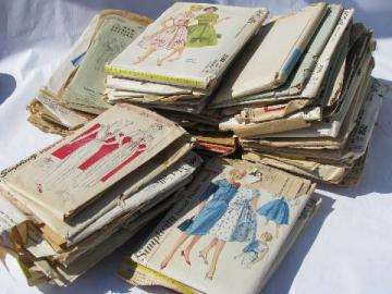 huge lot vintage 30s, 40s, 50s, 60s sewing patterns, dresses & lingerie
