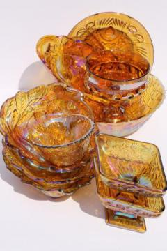 huge lot vintage Indiana carnival glass in gold - bowls, berry dishes, etc.