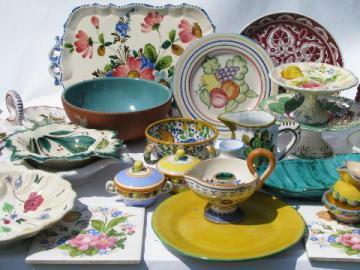 huge lot vintage Italian ceramics, 20 earthenware pottery plates, bowls etc. marked Italy