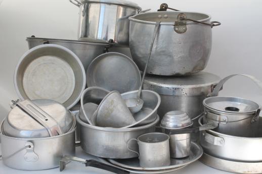 Huge Lot Vintage Aluminum Pots Amp Pans Camp Kitchen