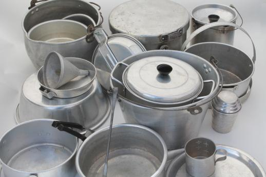 Huge Lot Vintage Aluminum Pots Amp Pans Camp Kitchen