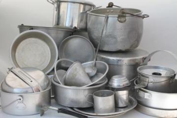 huge lot vintage aluminum pots & pans, camp kitchen cookware for camping, campfire cooking