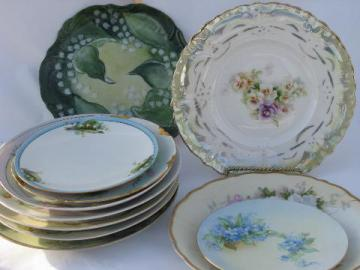 huge lot vintage antique hand-painted flowers floral china plates, some signed