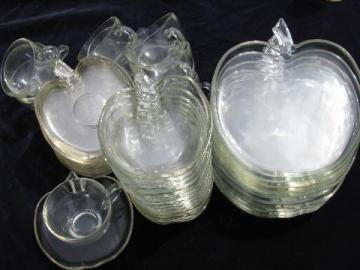 huge lot vintage apple shaped Orchard glass dishes, set for 12