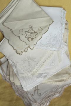 huge lot vintage cotton and linen napkins, cloth napkin sets to mix and match