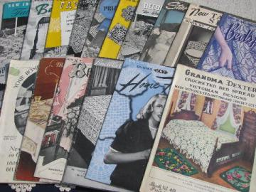 huge lot vintage crochet lace booklets, bedspread and tablecloth patterns