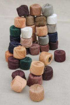 huge lot vintage darning / mending cotton thread in natural colors, 36 spools