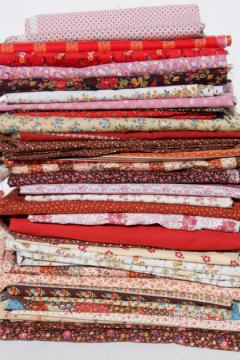 huge lot vintage fabric, boho prairie calico flowered cotton prints, quilting print fabrics