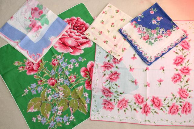 huge lot vintage hankies w/ flower prints, 50 pretty printed cotton handkerchiefs