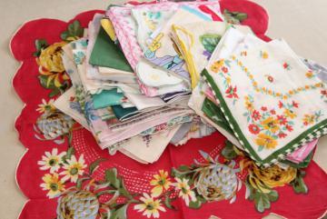 huge lot vintage hankies w/ flower prints, 50 pretty printed cotton handkerchiefs