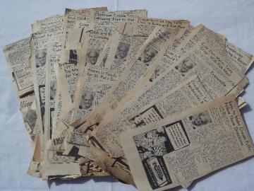 huge lot vintage newspaper clippings, Aunt Em's recipe columns 40s and 50s
