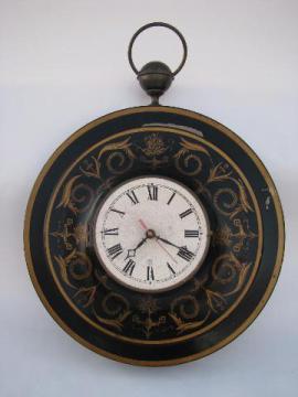 huge mid-century vintage black & gold tole wall clock