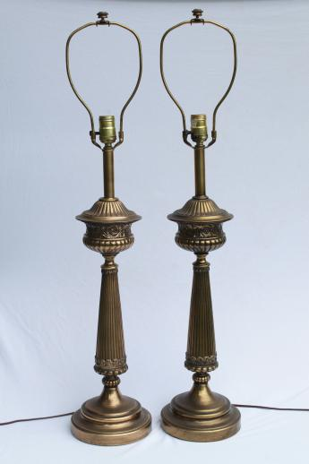huge mid-century vintage table lamps, tall brass Corinthian column lamp pair