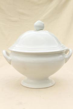huge old Petrus Regout soup tureen, vintage french farmhouse style white pottery