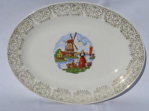 Huge Old Stetson China Platter Vintage Dutch Scenes Decal
