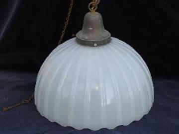 huge old brascolite glass shade, vintage industrial pendant light