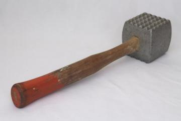 huge old butcher's meat mallet, meat tenderizer hammer for meat processing butchering tool