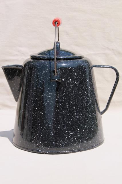 huge old farm kitchen coffee pot, primitive black & white graniteware enamel spatterware