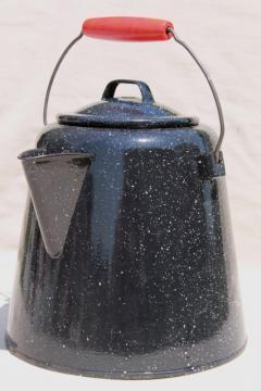 huge old farm kitchen coffee pot, primitive black & white graniteware enamel spatterware