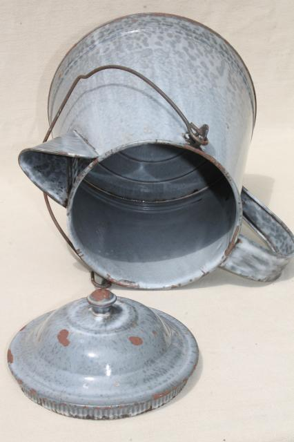 huge old farm kitchen coffee pot, primitive grey graniteware spatterware enamel