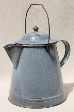 huge old farm kitchen coffee pot, primitive grey graniteware spatterware enamel