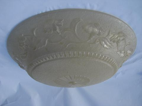 Huge Old Floral Glass Lamp Shade For Pendant Or Ceiling
