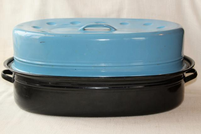 huge old granite enamelware roasting pan, vintage turkey roaster w/ blue enamel cover