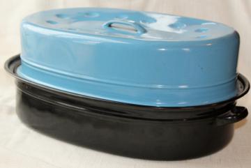 huge old granite enamelware roasting pan, vintage turkey roaster w/ blue enamel cover