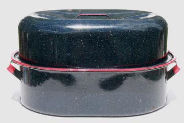 huge old graniteware enamel turkey roaster, vintage enamelware roasting pan w/ red trim