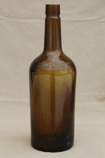Huge Old Green Glass Bottle Vintage Whisky Bottle Big One