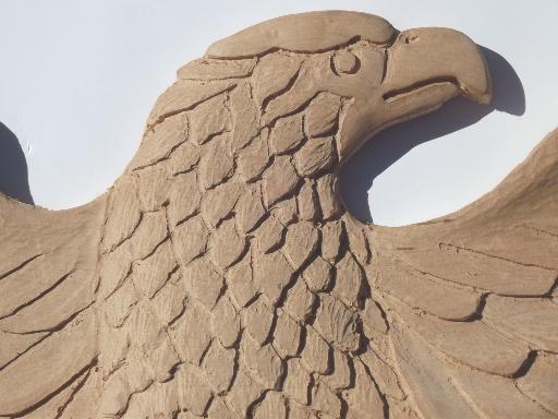 Huge Old Hand Carved Wood Federal Eagle Folk Art Wooden