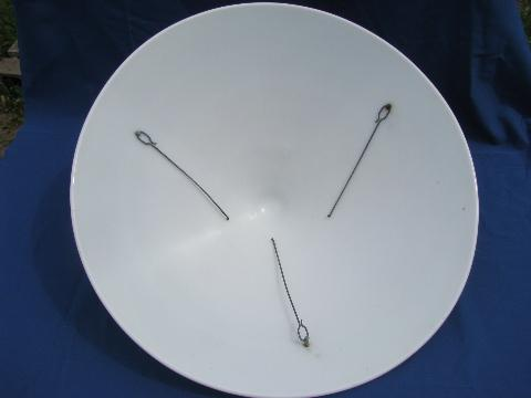 huge old milk glass pendant light lamp shade, art deco vintage mod