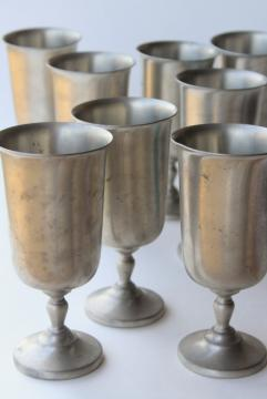 huge old pewter metal goblets, vintage water or wine glasses set of 8