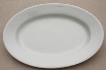 huge old plain white English ironstone china platter or tray, Royal Arms mark