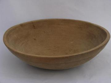 huge old primitive turned wood bowl, vintage kitchen woodenware