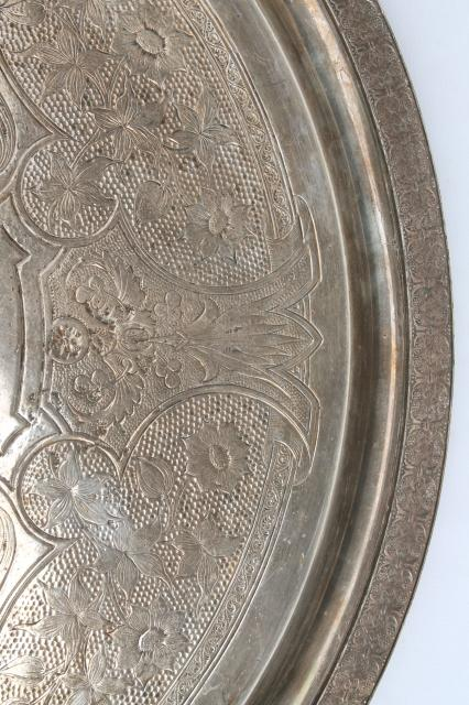 huge old silver meat platter, aesthetic antique silverplate tray w/ handles