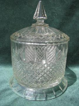 huge old waffle glass apothecary jar, vintage store counter candy canister
