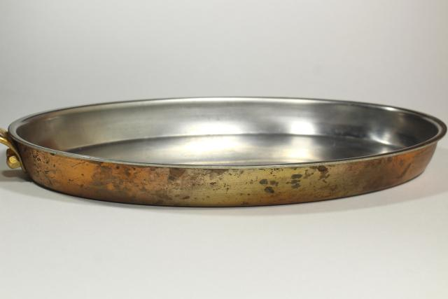 huge oval fish pan, vintage Culinox Spring Switzerland copper stainless cookware