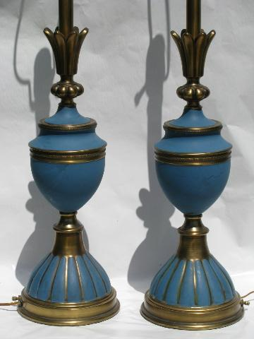 Huge pair french blue brass table lamps mid century vintage stiffel aloadofball Images
