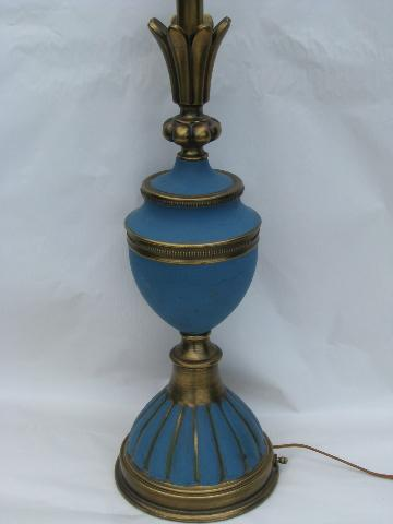 huge pair french blue / brass table lamps, mid-century vintage Stiffel