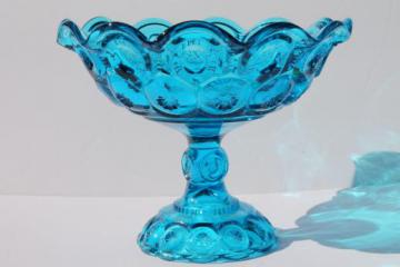 huge pedestal dish compote, vintage moon & stars pattern glass bowl in aqua blue