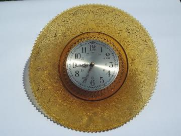 huge plate frame wall clock, Tiara / Indiana sandwich daisy amber glass