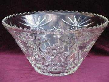 huge pres-cut pattern glass bowl, for punch or holiday entertaining