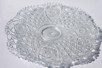 huge punch bowl under plate, vintage daisy and button pattern clear pressed glass